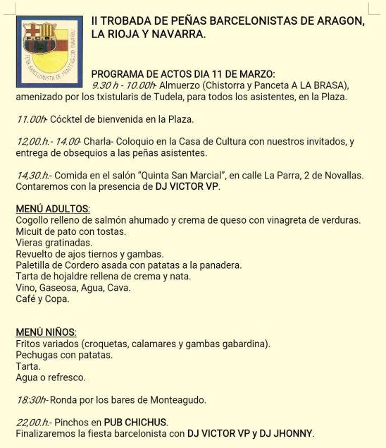 Programa de Actos II Trobada de Peñas Barcelonistas de Aragón, La Rioja y Navarra